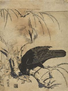 """Isoda Koryûsai Japanese (active 1764 - 1788) Crow and Heron, Mid Edo period, circa 1772 Print Japanese,18th centuryEdo period, Middle, 1704-1789 Creation Place: Japan Ukiyo-e woodblock print in """"chûban"""" format; ink and light color on paper H. 25.3 cm x W.19 cm (9 15/16 x 7 1/2 in.)"""