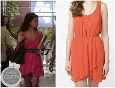 Madeline Rybak, Mads (Alice Greczyn) wears this hot pink dress with a ruffled tulip crossover skirted bottom, while talking to Ethan at school, in this week's episode of The Lying Game.  Aria also wore this on Pretty Little Liars, in Green.  It is the Silence & Noise Cutaway Dress. It is sold out, but check it out  HERE