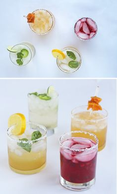 Margarita recipes :: Jalapeno Cilantro, Pomegranate Lime, Meyer Lemon & Basil, Honey Tangerine