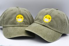 Custom Soft Baseball Cap Smiley Poop Face A Embroidery Dad Hats for Men /& Women