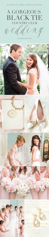 A Classic Black Tie Wedding with Blush, floor length bridesmaids dresses, Country Club of Virginia Wedding in Richmond Virginia By Katelyn James Photography #blacktiewedding
