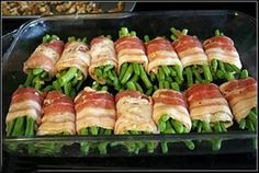 Bacon-Wrapped Green Beans: 1 hour at 375, cover beans with soy sauce, brown sugar and butter