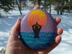 Meditation Stone with Woman in Ocean Sun by TheSimplifiedWitch, $12.00