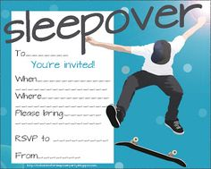 Slumber party invites perfect for boys - if you are having a slumber party then there's lots of free invites on this page -  these are quick and easy to print - then just write in the details of your own party such as the time and location and even the RSVP details. Just click on the teen sleepover invitation you rpefer and it'll  open nice and big - then print or save to your PC.