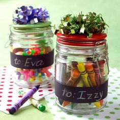 Personalize with Chalk Paint...these would be good for a classroom (crayon painting teacher gifts)