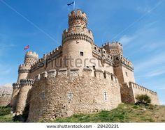 Medieval Castle Of Manzanares El Real, Madrid, Spain Stock Photo ...