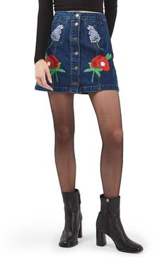 Topshop Floral Embroidered Denim Skirt available at #Nordstrom