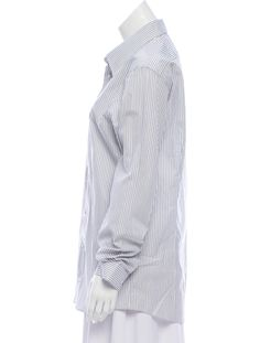 94b7c04dd White and grey Jil Sander striped button-up with pointed collar, long  sleeves and