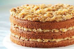 This triple-layer chocolate cake, filled and topped with a decadent coconut-pecan icing, is a classic dessert that makes any event extra special.