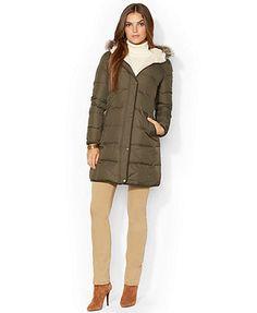 Lauren Ralph Lauren Faux-Fur-Trim Hooded Down Puffer Coat