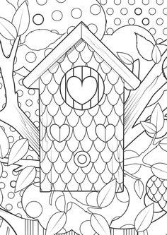 kleurplaat vogelhuisje bos hart coloring bird house heart - Things To Color