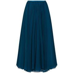 Lara Khoury Midi Skirt ($861) ❤ liked on Polyvore featuring skirts, blue, blue midi skirt, mid-calf skirt, blue skirt, layered skirt and calf length skirts