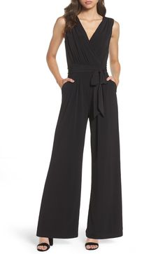 22088b5a72 Free shipping and returns on Vince Camuto Faux Wrap Jersey Jumpsuit  (Regular  amp  Petite