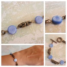 Handmade bracelet with blue MOP discs - see other colours: turquoise, yellow, red and bright pink.