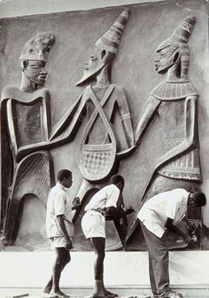 Felix Idubor (1928-1991) was a Nigerian sculptor from Benin, part of a group of young artists in Nigeria in the 1950s and 1960s who raised awareness of the African artistic tradition at the time of decolonisation and independence.  He is considered one of the pioneers of Nigerian contemporary art.  The exhibition displays this photograph of his 1965 bas-relief for Independence House in Lagos.
