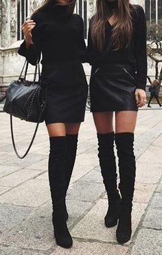 Classy Elegant Going Out Thigh High Boots Outfit Ideas for Women Fall or Winter - Elegantes ideas para ropa de otoño o invierno para mujeres - www. Preppy Fall Outfits, Winter Boots Outfits, Casual Skirt Outfits, Club Outfits, Black Knee High Boots Outfit, Womens Thigh High Boots, Over The Knee Boot Outfit Night, Knee Boots, Thigh High Boots Flat