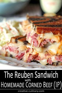 Corned beef is so easy to make using an Instant Pot Pressure Cooker and it is absolutely mouth-watering in these classic Homemade Reuben Sandwiches with Sauerkraut, Melted Cheese and Thousand Island Dressing. via Creative Culinary Corned Beef Sandwich, Reuben Sandwich, Cornbeef Sandwich Recipes, Panini Recipes, Panini Sandwiches, Sandwich Board, Veggie Sandwich, Lunch Recipes, Pressure Cooker Corned Beef