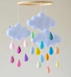 Rainbow bebé móvil nube vivero móvil Rainbow Mobile nube | Etsy