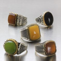Wholesale Lot 5Pcs 925 K Sterling Silver Mens Rings Natural Amber Mixed Size $119.00