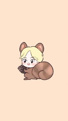 """ Squirrel Xiu-Xiu kekeke (fanart credit to owner)"" Exo Kokobop, Kpop Exo, Exo Chanyeol, Exo Cartoon, Kai, Exo Fan Art, Exo Lockscreen, Kim Minseok, Bts Chibi"