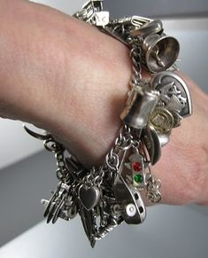 Vintage Sterling Charm Bracelet with 45 Charms $450 #charms #bracelet #vintage  Love this
