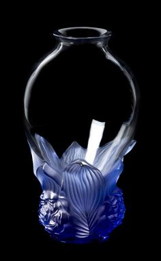 """treasures-and-beauty:  """"Lalique Colorless and Opalescent Blue Glass Vase  """""""