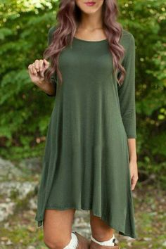 Casual Scoop Neck 3/4 Sleeve Solid Color Asymmetrical Dress For Women