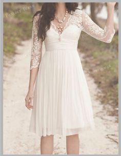 Custom Made A Line V neck Half Sleeve Short lace wedding dresses, Short Dresses for wedding,Beach Wedding Dresses, cheap bridal dresses