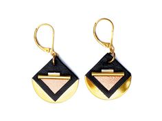 Handmade gold earrings, made in france, leather black blue, gold plated