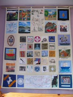 SLIKstitches: Pre Blog Finished Quilts   2006 07: 50th Anniversary quilt for Peter and Chris.   Party guests were asked to provide a block 5x5 or 10x10 for the gift.Applique, machine embroidery, cross stitch, lace, photo printing - loads of different methods were used to create the blocks which were then joined by their Granddaughter Kate and myself with help from family