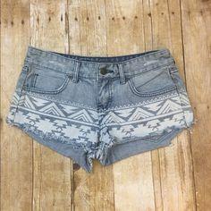 """Aztec patterned short shorts Cheeky and so cute- 8"""" long 2"""" inseam Billabong Shorts Jean Shorts"""