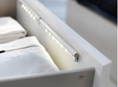 The new DIODER LED battery-operated lamp from IKEA answers a basic need when it comes to modern living: illuminating storage spaces, particularly drawers and cabinets. Unobtrusive and elegantly designed, the strip of light comes on automatically when you Led Light Strips, Led Strip, Master Closet, Master Bedroom, Closet Rod, Wardrobe Closet, Bedroom Modern, Shoe Closet, Girls Bedroom