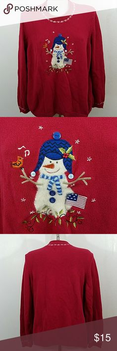 "Hand Embroidered Ugly Christmas Sweater Hand Embroidered Ugly Christmas Sweater by C.J. Banks Christopher and Banks. In good condition except for some pilings and a little faded. Size 1x. Bust 48"" Length 26"" 100% Cotton Christopher & Banks Sweaters"