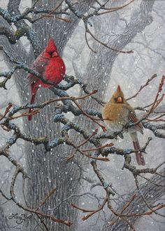 Winter Pair - Cardinals - bird painting by Larry Zach