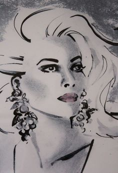 inspired by the glamour and sophistication on the mid 1960's, a time when fashions, hairstyles etc. were rapidly changing.  By Jax Barrett Fashion Illustrations Designed in United Kingdom