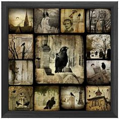 Gothic Squares  Black crows, often seen as symbols of death or messengers of evil are depicted here in 13 Gothic inspired images certain to bring an uneasy feeling to all who gaze upon it. Available from Zazzle.com; $13.15