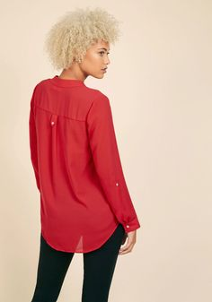 Pam Breeze-ly Long Sleeve Tunic in Tomato