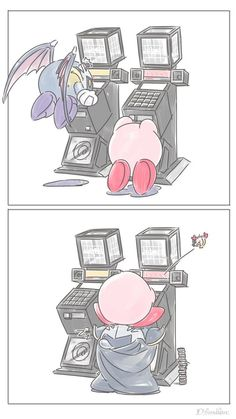 Kirby and meta knight playing games.