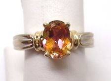 14K TWO TONE OVAL IMPERIAL TOPAZ RING RETAIL $549 JG1