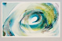 Creation Story by Mary Wright, 2001, watercolor on paper. It looks like wind, or a feather, or a wave, or an egg. It looks like spring to me. Thanks to the artist!