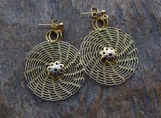 Lacy Round Brass Wire Crocheted Stud Earrings