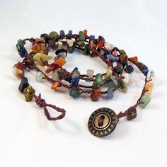 Mixed Gemstone Hemp Wrap Bracelet Braided by ElectricPenguin