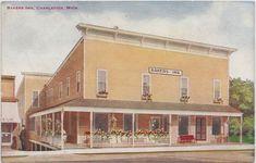 NW Charlevoix MI 1913 Bridge St House Hotel built by Civil War Vet Robert Miller U.s. States, Genealogy, Bridge, War, Mansions, House Styles, City, Building, Home
