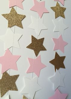 Star Garland by SweetCutsShoppe on Etsy Baby Shower Deco, Baby Girl Shower Themes, Gold Birthday Party, 1st Birthday Cake For Girls, 1st Birthday Girl Decorations, Cinderella Birthday, Star Garland, Star Baby Showers, Twinkle Twinkle Little Star
