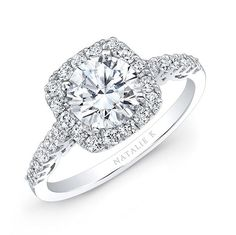 18K White Gold White Diamond Cushion Halo Engagement Ring - Natalie K