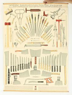 Large Vintage Butcher Knife Chart - Restaurant Decor or Store Display