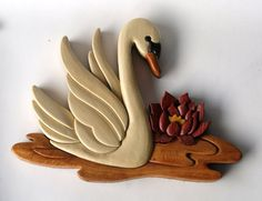 Swan Intarsia Wall Hanging Made To Order por EntwoodCrafts en Etsy