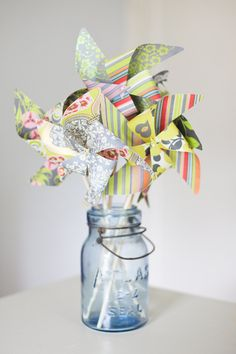 Wedding Decor Pinwheels Set of 6 Large Paper by ElizabethSt, $25.00   On the lolly table