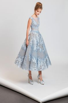 Tony Ward S/S 2017: Modern Cinderella look! I love the light blue with the intricate crystals.