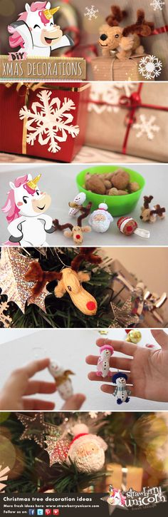 Christmas tree decoration ideas DIY - Tutorial to decorate your #tree on a budget! Strawberry Unicorn shows you a lot of easy, cheap and beautiful #DIY to #decorate your #Christmas #tree: #paper #snowflakes, tiny #gift #boxes made out of toilet paper tubes and an original #peanuts and #walnuts makeover! Amazing! ;)